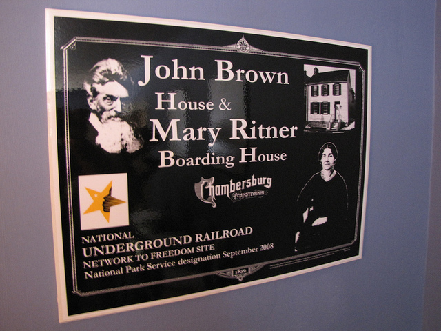 Mary Ritner Boarding House as John Brown's Headquarters and Underground Railroad
