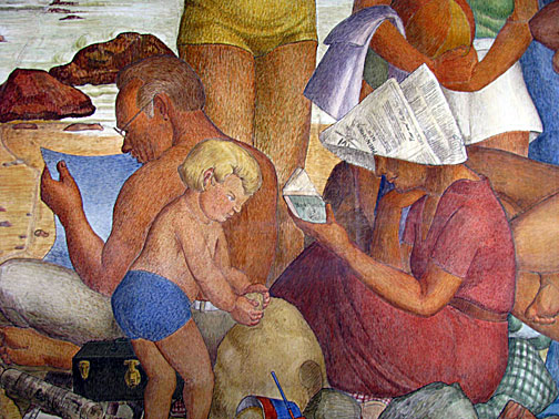 Labaudt painted himself into one of the murals (he is the man reading the paper)
