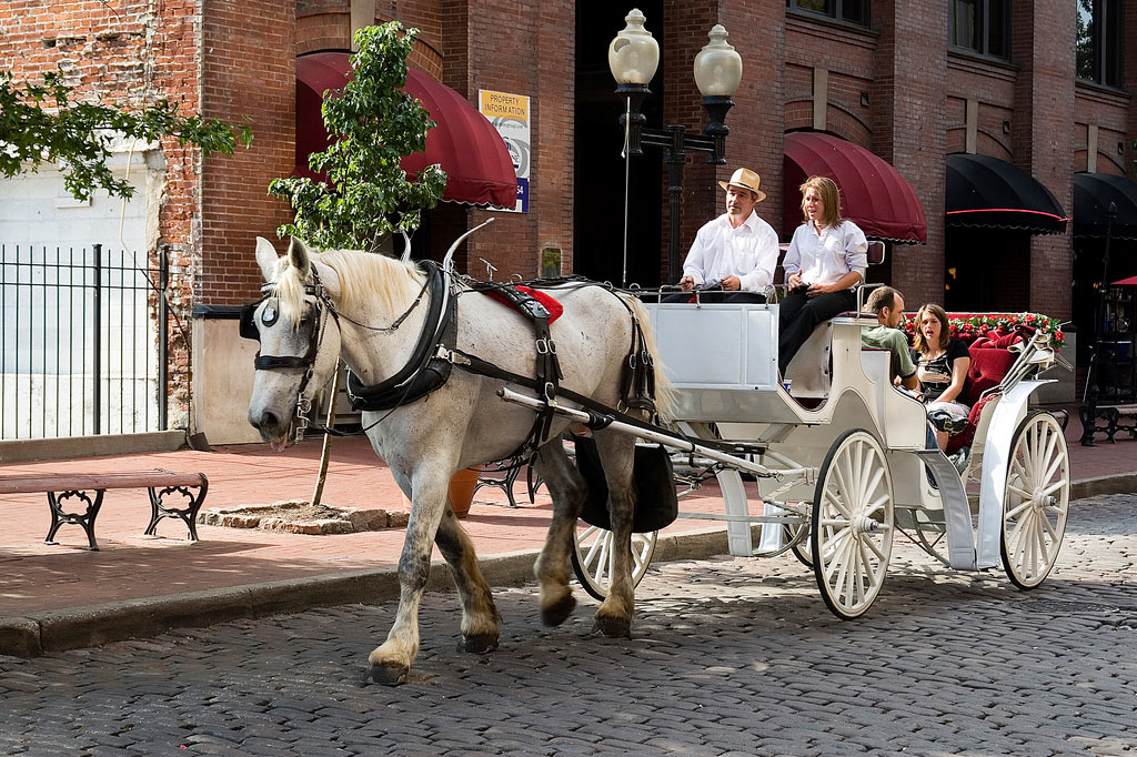 Visitors to Historic Laclede's Landing can enjoy a ride from the St. Louis Carriage Company, stationed outside the Old Spaghetti Factory, located at 727 N. First Street.