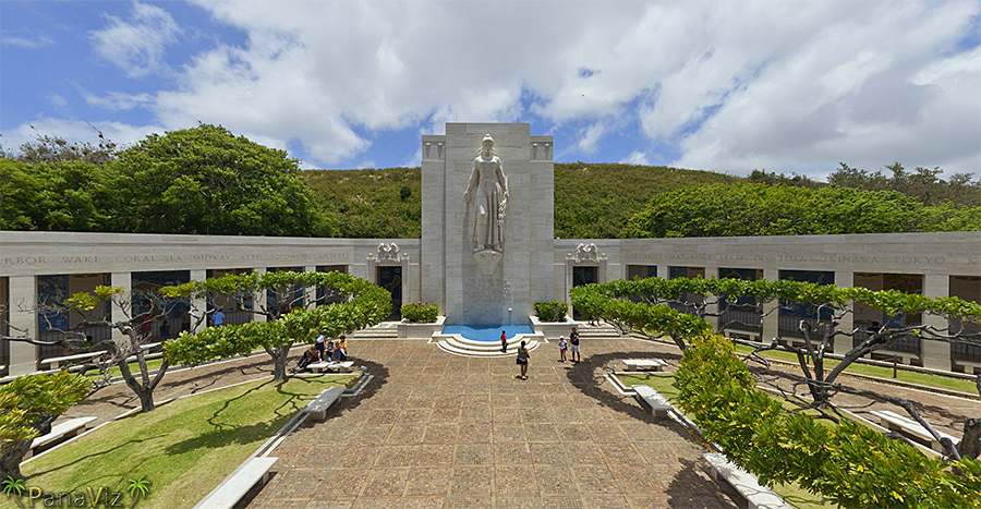 The natural beauty of Oahu melds wonderfully with the artistry of the cemetery's design.