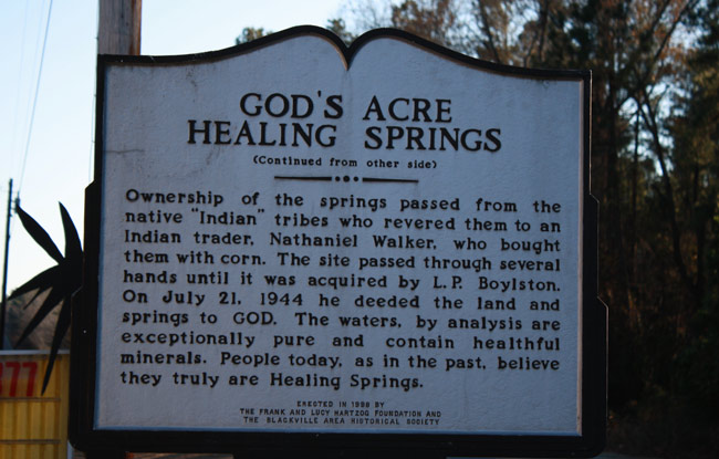 God's Acre Healing Springs historic marker