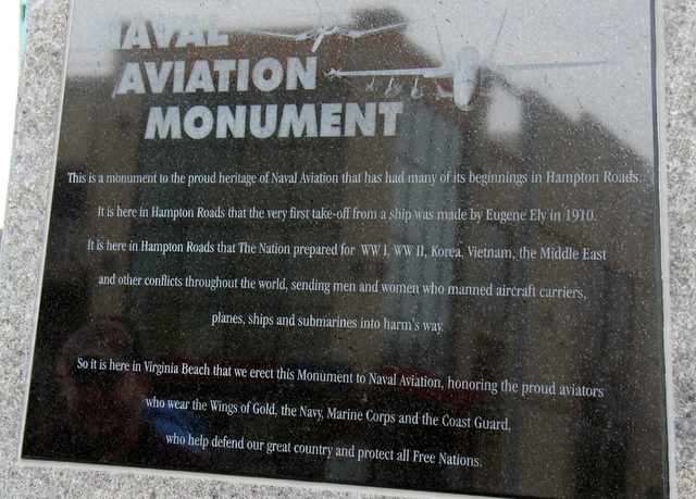 A plaque dedicating the park to Naval aviators.
