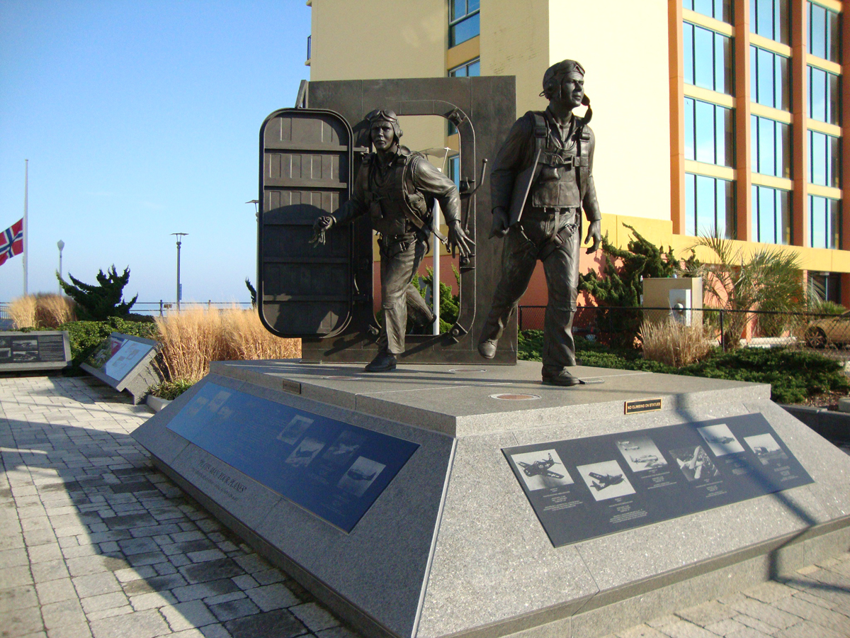 A bronze statue to commemorate Naval Aviators during WWII.