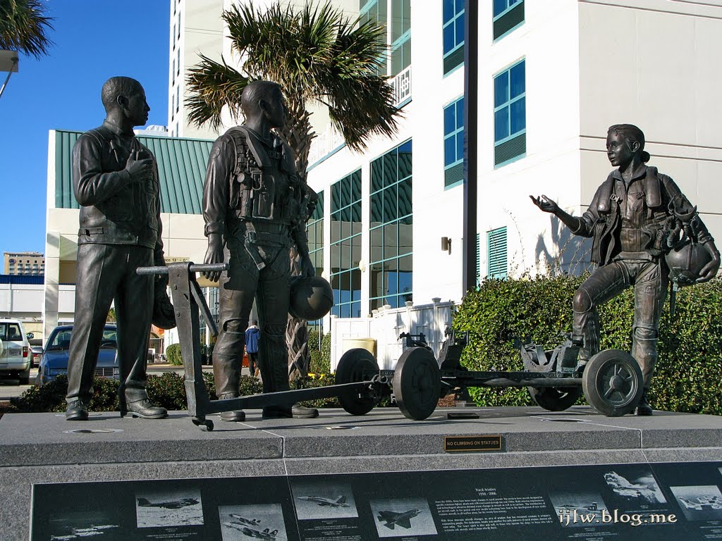 A bronze statue of modern-day pilots.