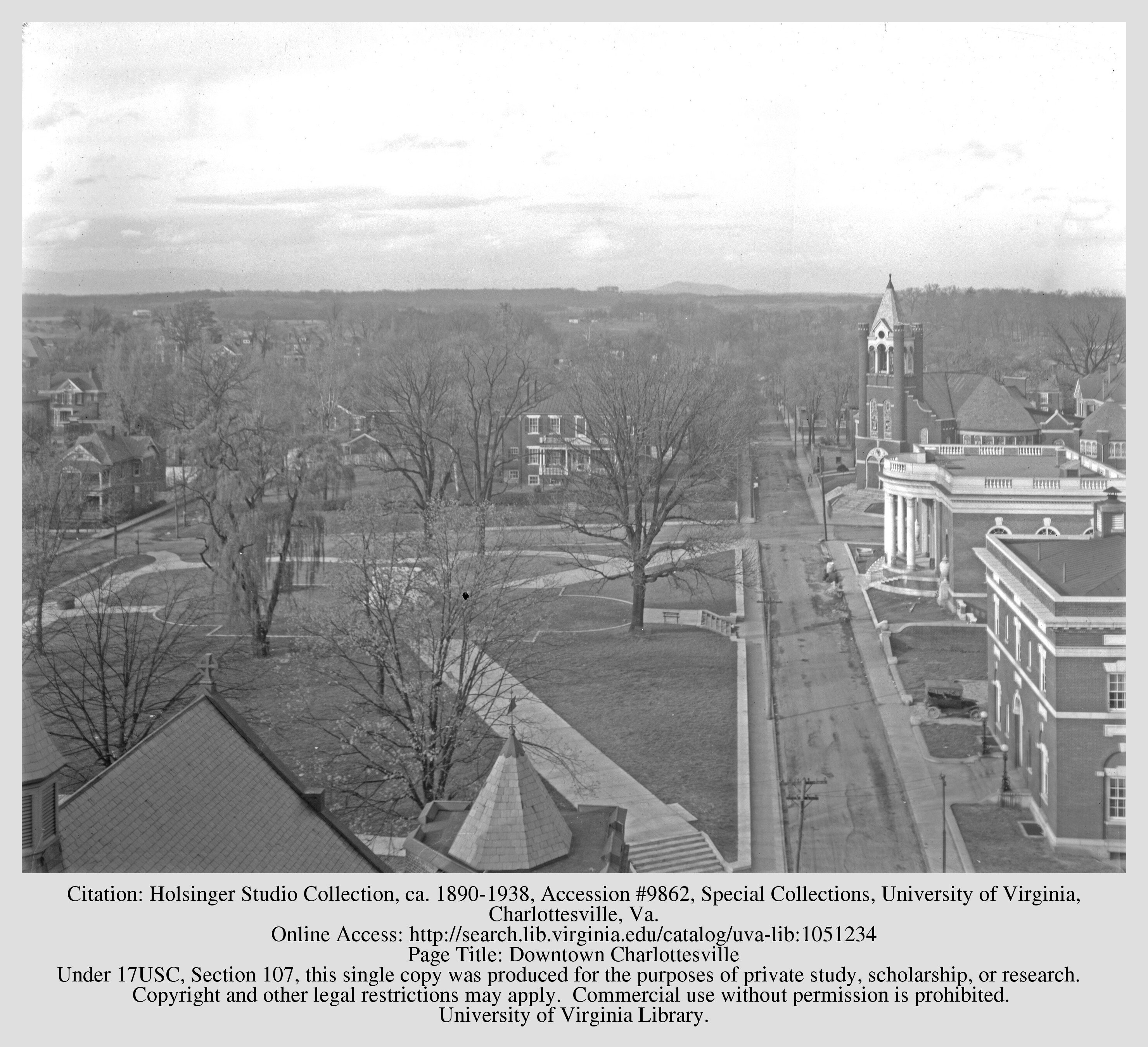 The land which would become Lee Park in 1924, just prior to the statue's installation. Courtesy of the Holsinger Studio Collection (#9862), Special Collections Department, University of Virginia Library