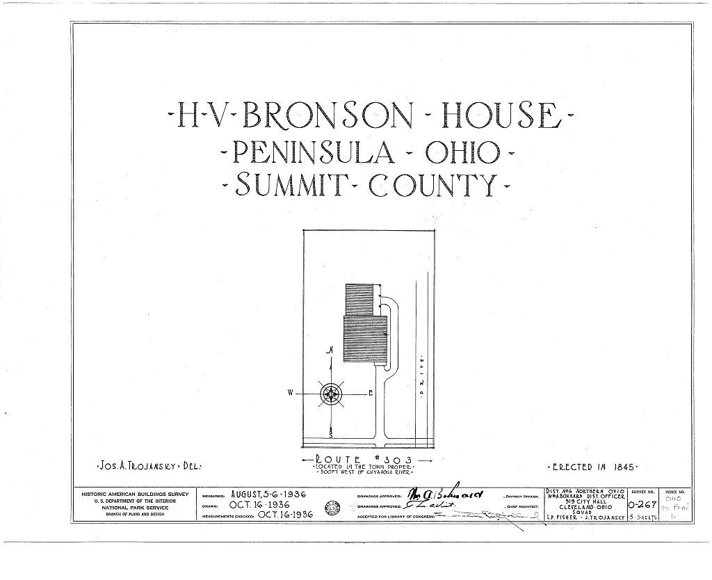 The first of six pages of architectural drawings of the Bronson house made in the 1930s. This image comes from the Library of Congress.