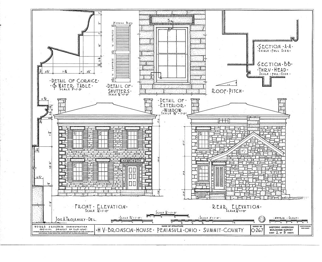 The third of six pages of architectural drawings of the Bronson house made in the 1930s. This image comes from the Library of Congress.