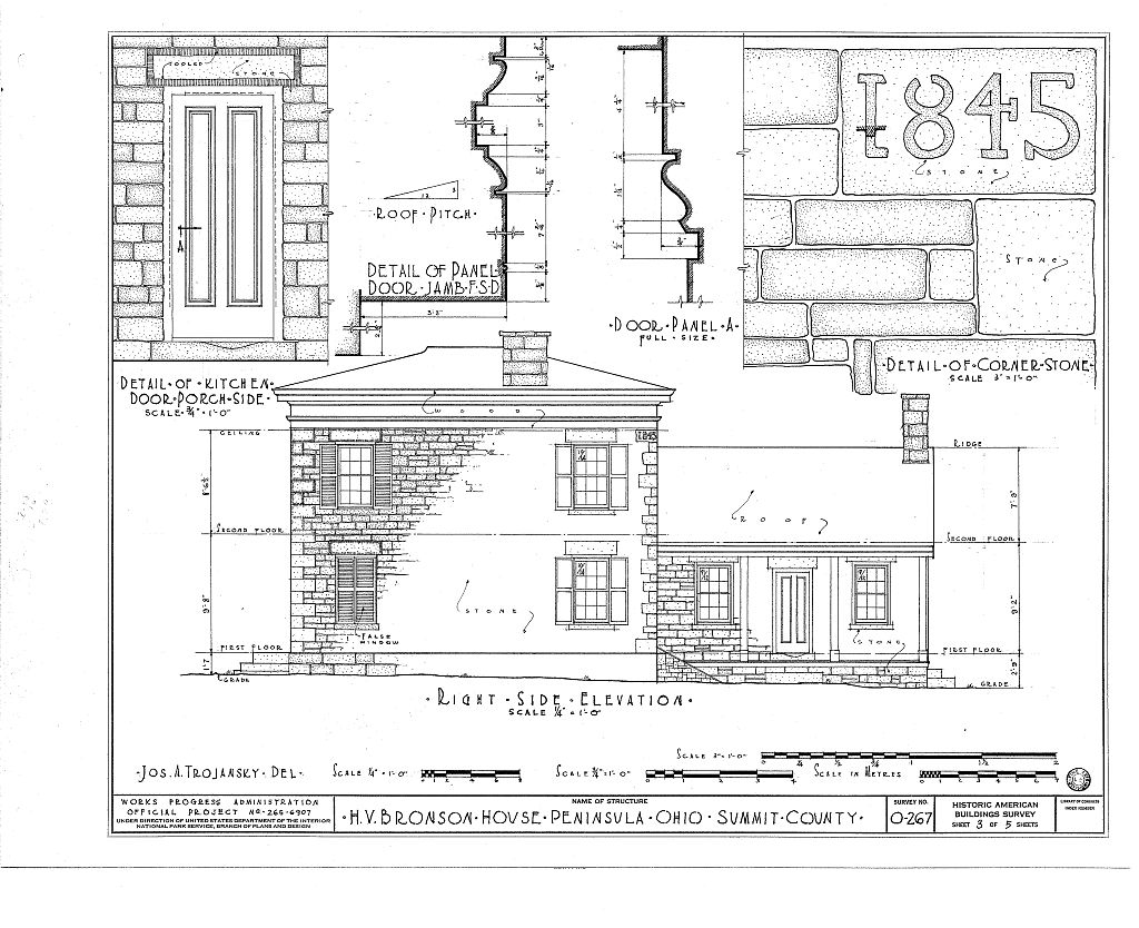 The fourth of six pages of architectural drawings of the Bronson house made in the 1930s. This image comes from the Library of Congress.