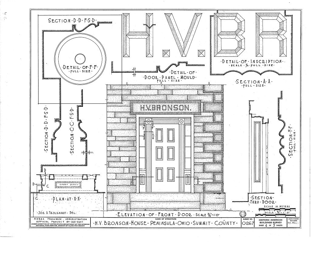 The fifth of six pages of architectural drawings of the Bronson house made in the 1930s. This image comes from the Library of Congress.
