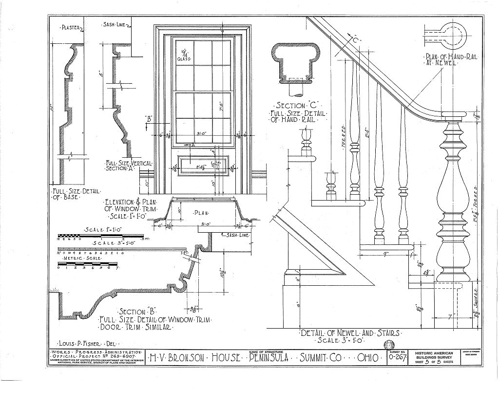 The sixth of six pages of architectural drawings of the Bronson house made in the 1930s. This image comes from the Library of Congress.