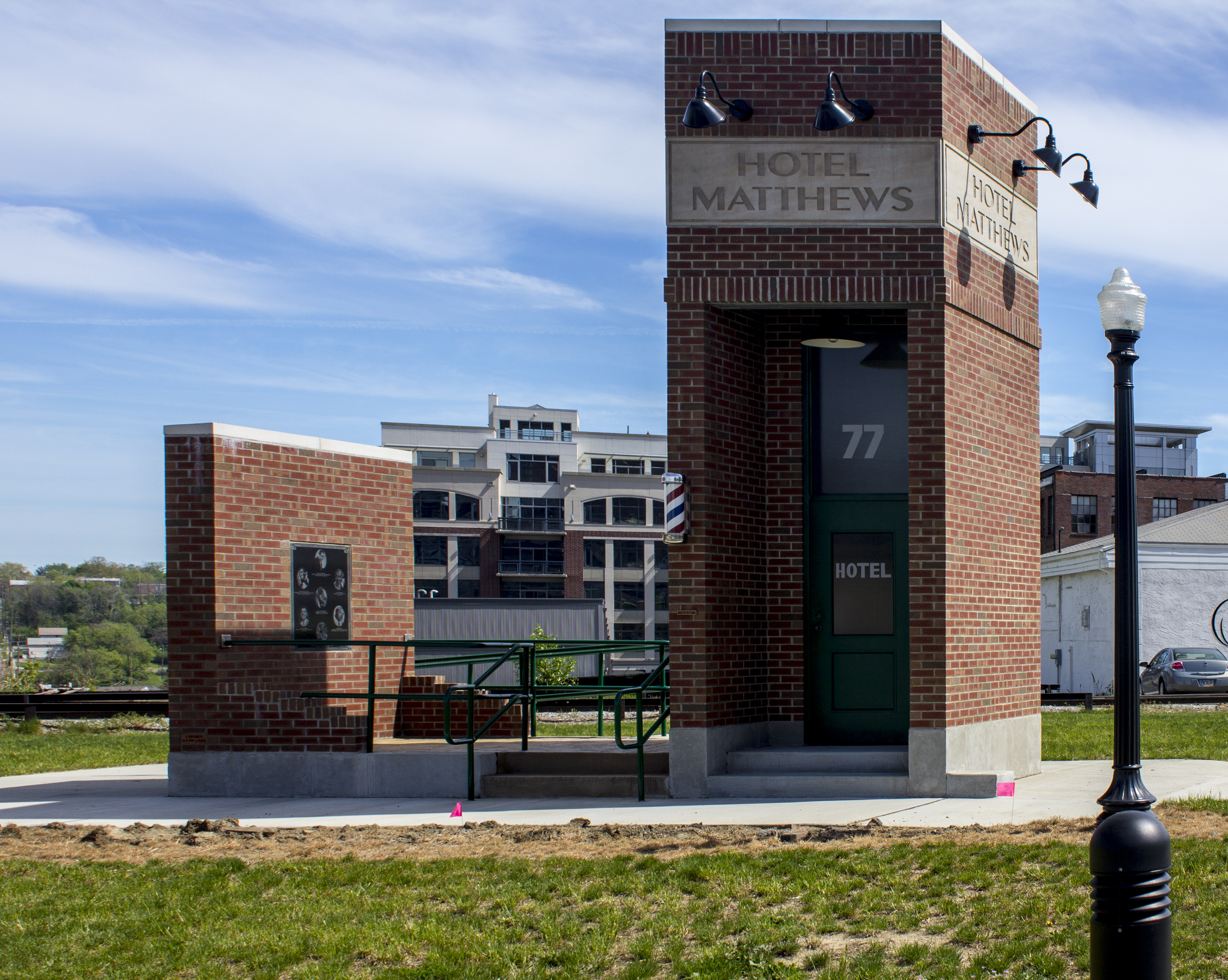 This small construction is a memorial for Hotel Matthews, a central component of the Howard Street district.