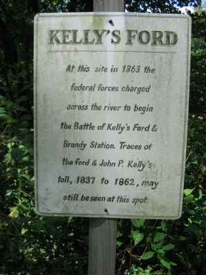 A marker at the site of Kelly's Ford Battlefield.  Source: Swain, Craig. Kelly's Ford Marker. 2009. Historical Marker Database, Remington, VA.