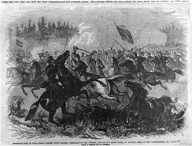 Drawing of the calvary fights at Kelly's Ford done soon after the skirmish