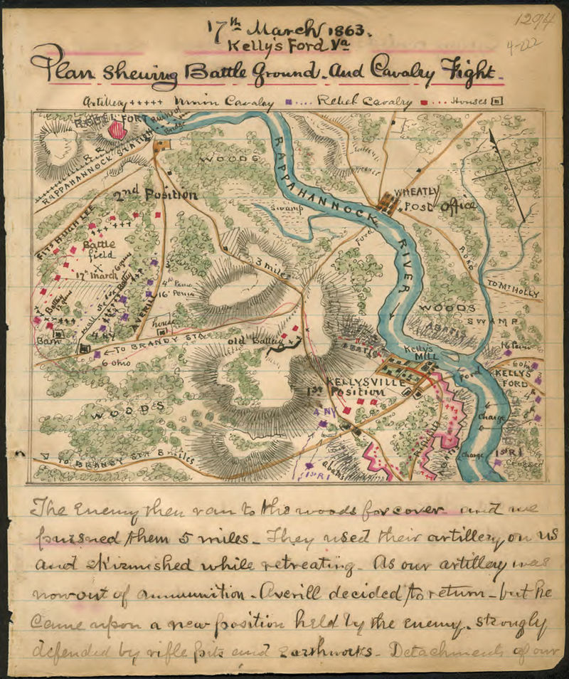 A map made soon after the battle showing the terrain and position of the forces engaged