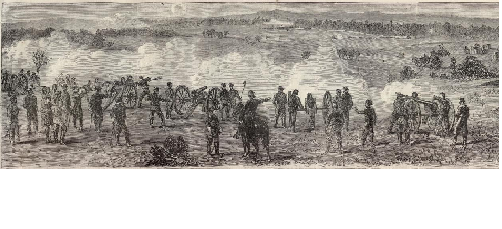 Illustration made during the skirmish depicting Union artillery in action