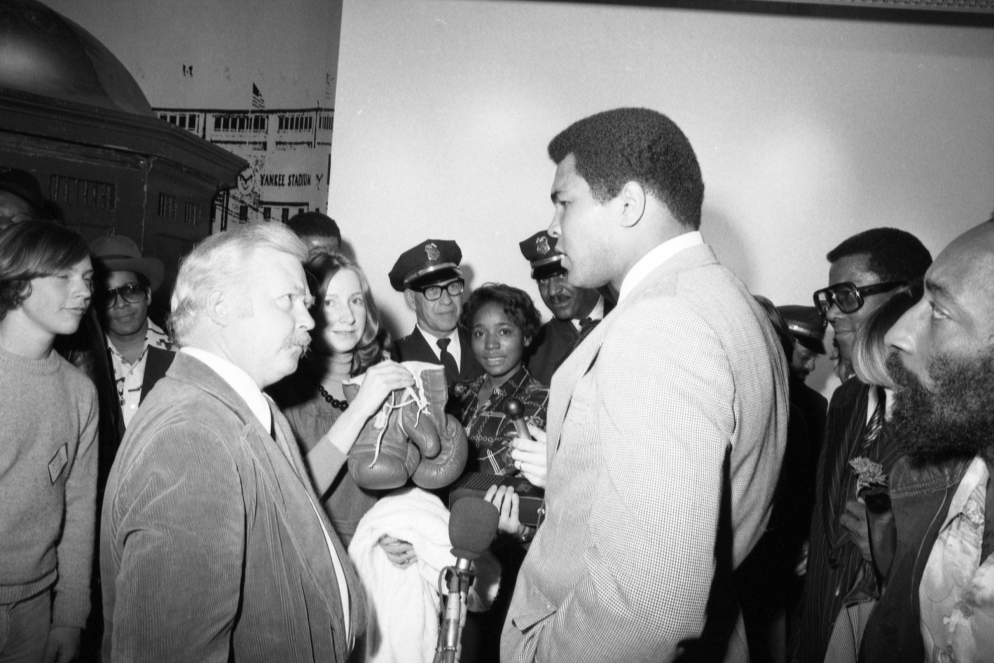 Muhammad Ali visited the museum on March 17, 1976, and donated a pair of boxing gloves and a robe to the museum. Photo courtesy of the Smithsonian Institution Archives.