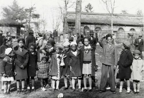 African American children during segregation, not able to attend the Easter Egg Roll, celebrate Easter Monday at the National Zoo. Photo, undated, courtesy of the Smithsonian Institution Archives and NMAAHC blog.