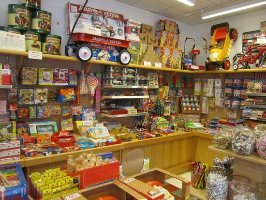 The Walton's 5&10 storefront sells a variety of classic toys and candy. Image obtained from TripAdvisor.