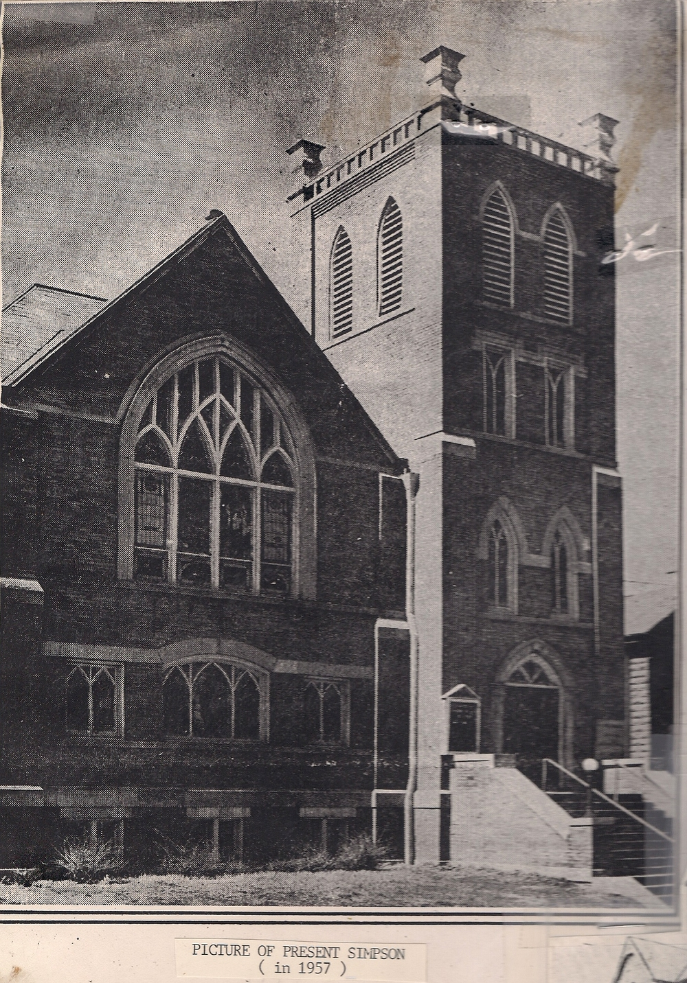 up-close undated black and white shot of Simpson UMC
