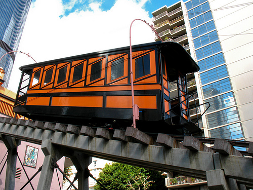 Angels Flight railway was first built in 1901 and operated until 1969. It was rebuilt a block away in 1996.