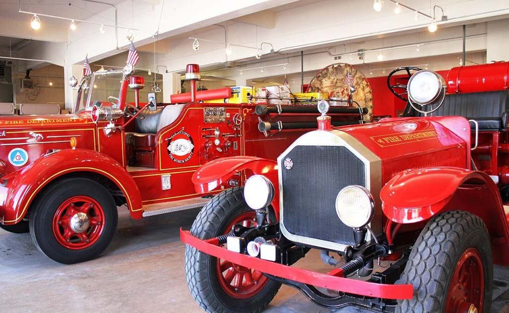 Two of the antique fire trucks at the museum, which opened in 2013.