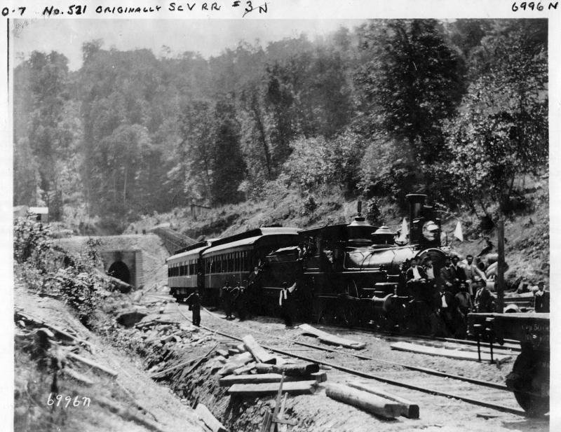 A steam locomotive traveling out of the tunnel. Image obtained from Appalachian Magazine.