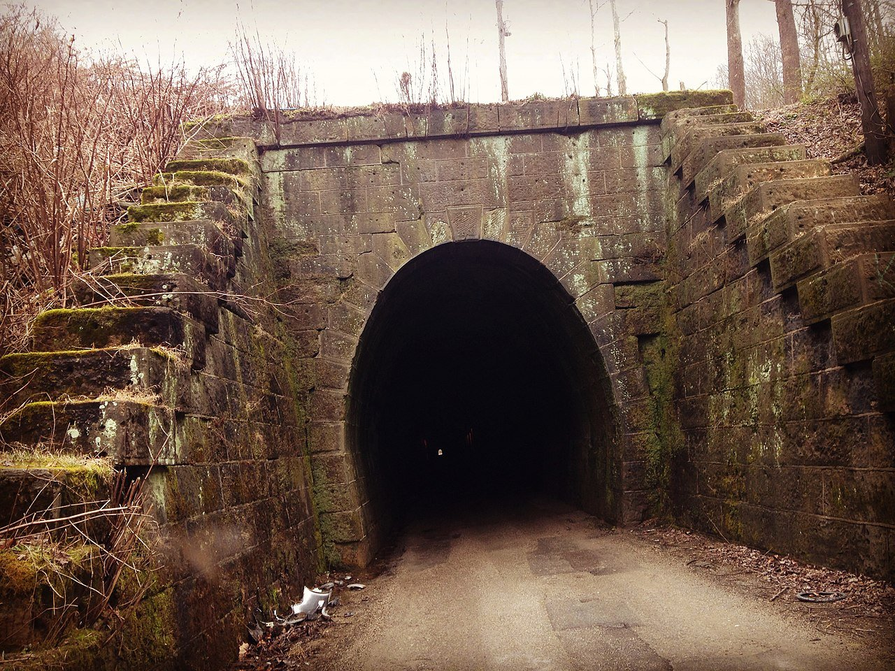 The Dingess Tunnel currently serves as a one-lane road into the community of Dingess. Image obtained from Brandon Ray Kirk, Wikipedia.