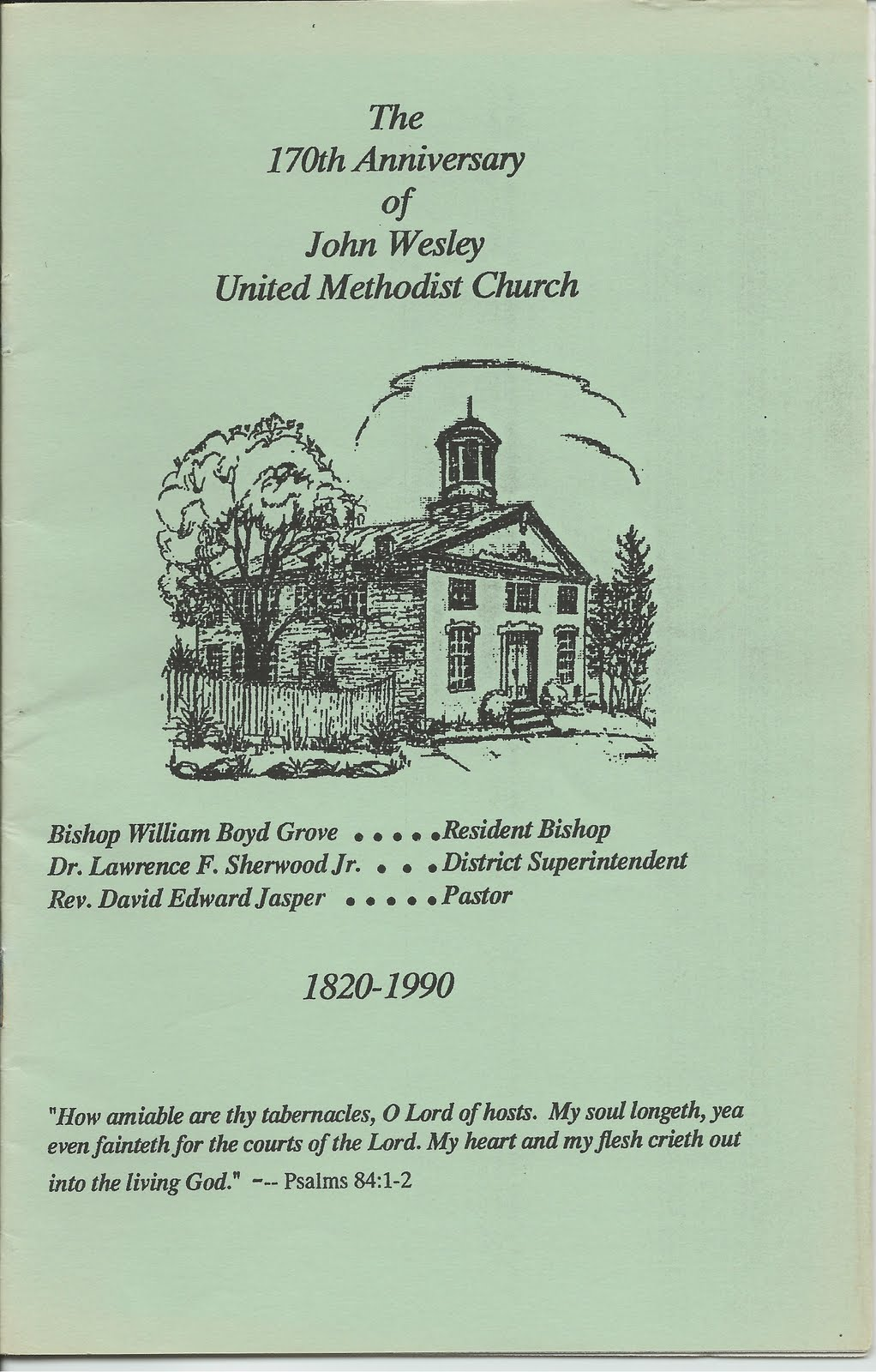 Program for 170th anniversary of church in 1990