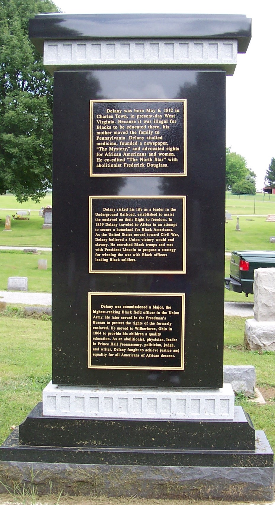 The current monument includes a short history of Delany's life and was made possible by donations