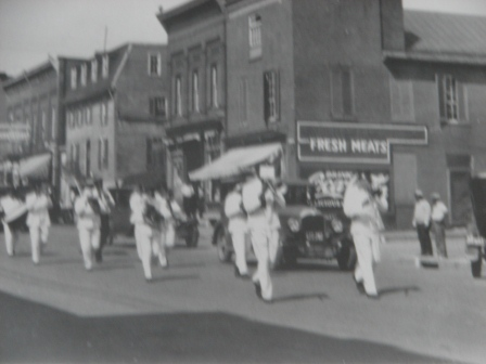 Band from Episcopal church, undated, marching town Main St.