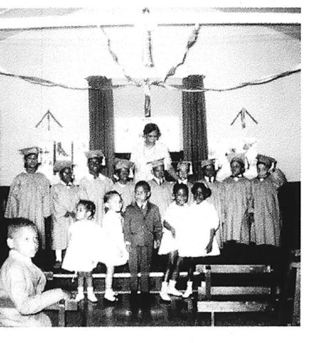 1965 graduation ceremony at St. Philips Parish Hall. Courtesy of JCBHPS
