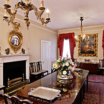 The formal dining room of the Cannonball House