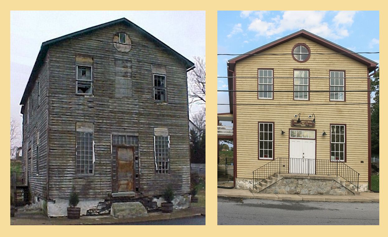 Fishermen's Hall before and after restoration.