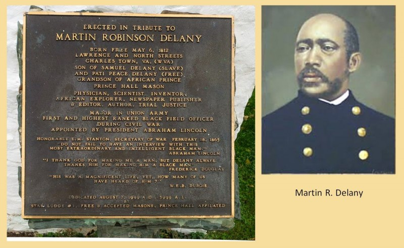 Marker dedicated to Martin Delany on outside wall of Free Mason Lodge