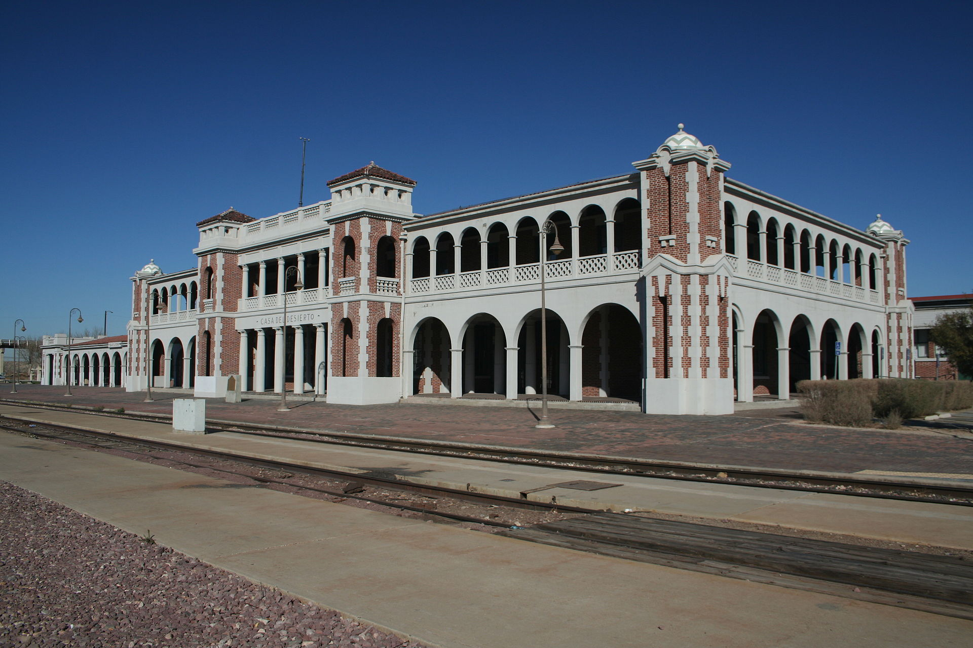 The building as seen from the railroad tracks