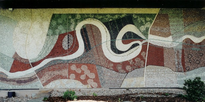 A mural depicting an aerial view of the Cuyahoga River on the front of the Peninsula Library. Some think it is also a reference to the Peninsula Python.