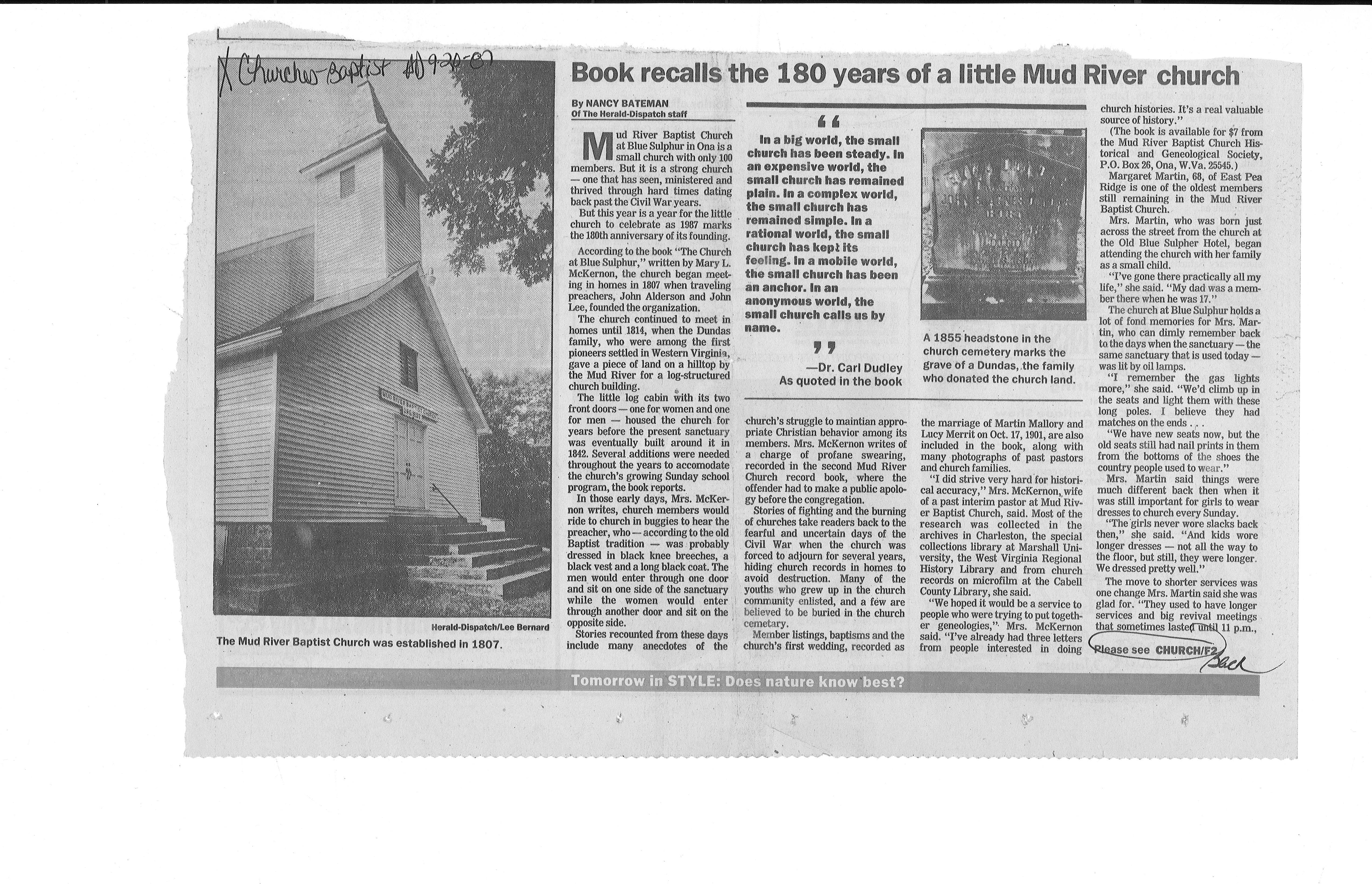 Part 1/2 article on Mud River Baptist. Courtesy of Marshall University Special Collections