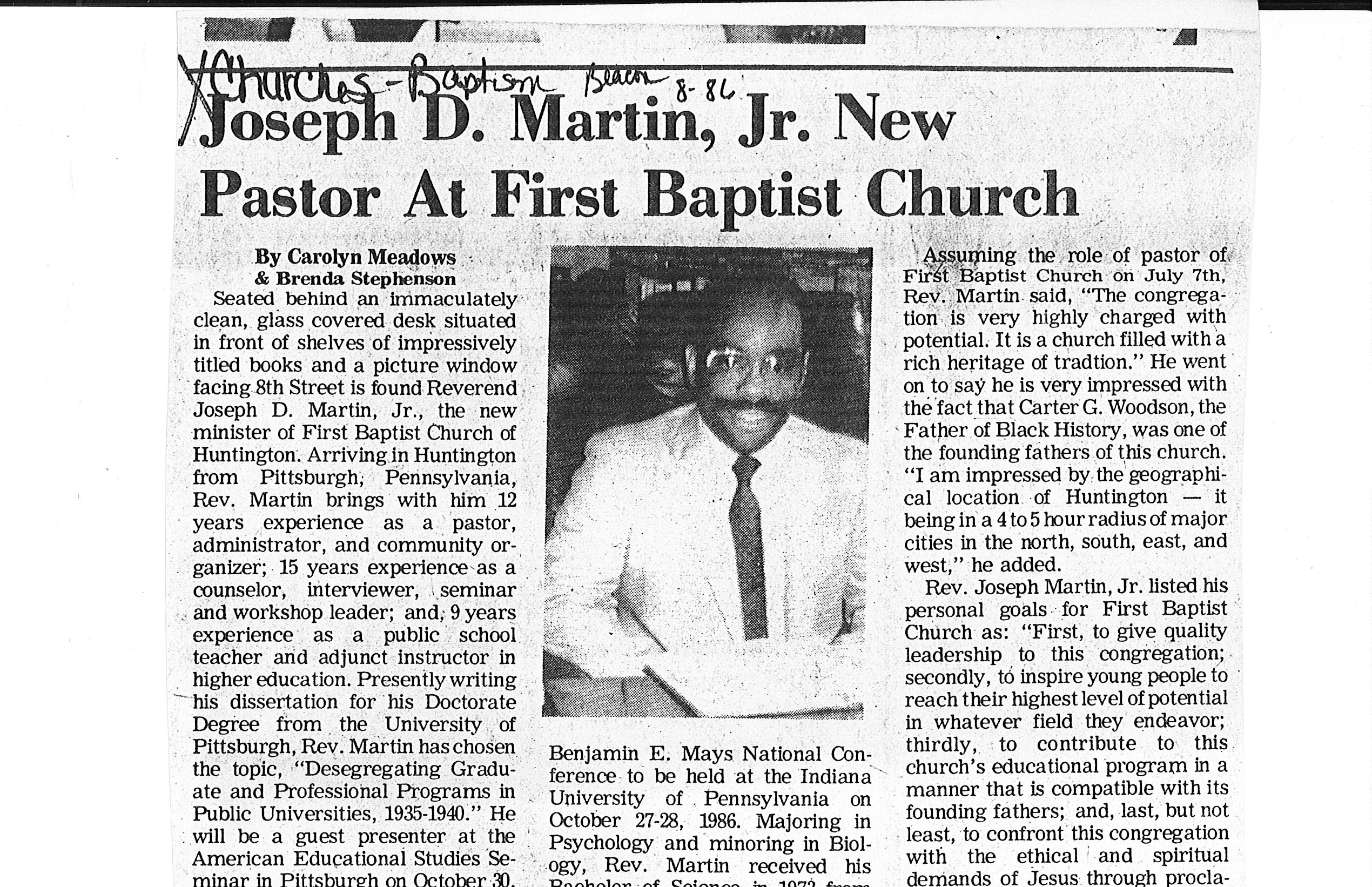 1986 article in new pastor at First Baptist. Courtesy of Marshall Special Collections.