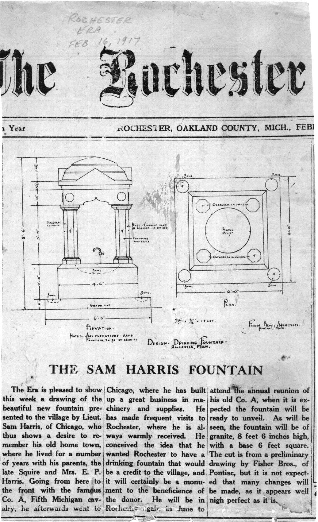 Samuel Harris Fountain, drawing in Rochester Era, February 23, 1917
