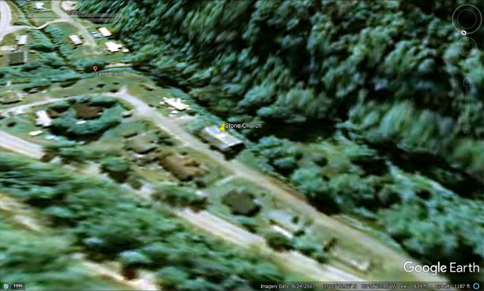 This screencapture using Google Earth shows the church with the roof still intact in 2007.