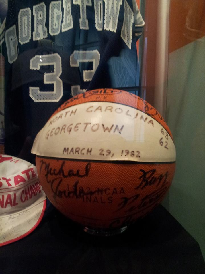 University of North Carolina and Georgetown game ball signed by Michael Jordan. Photo Courtesy of Laura Maple
