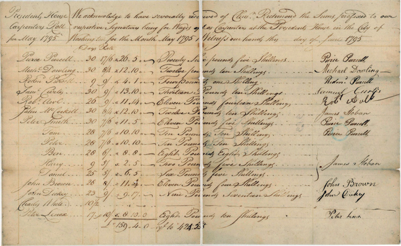 This section of the project's payroll shows government payments to the owners of the slaves who were among the labors who built the White House.