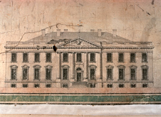 "Irish-born architect James Hoban won a design competition and built what would become known as ""The White House"" based on this design for the Executive Mansion."