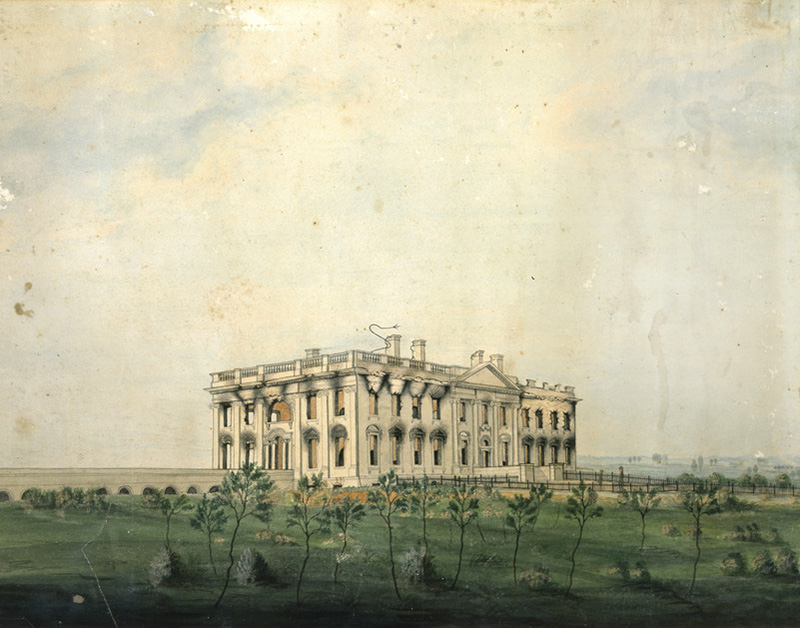 This print depicts the smoldering remains of the Executive Mansion after it was set on fire by the British on August 24, 1814.