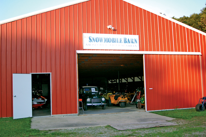 Outside the Snowmobile Barn Museum