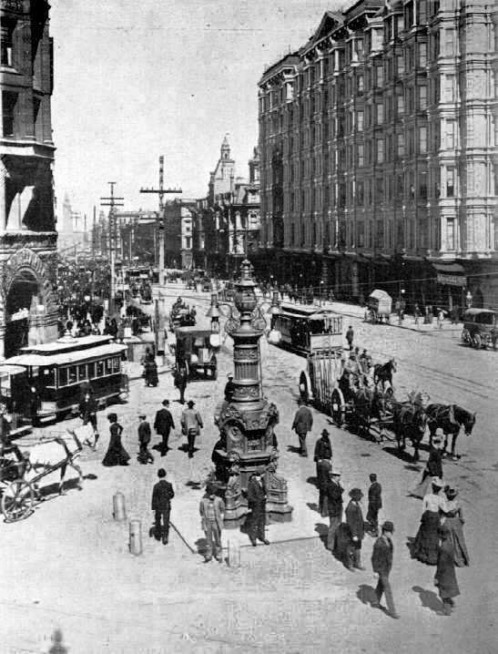 Lotta's Fountain at its original location at Third, Market and Kearny, prior to the 1906 earthquake. Wikimedia Commons.