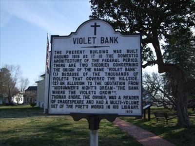 A sign outside of the museum explaining the origin of the name of Violet Bank