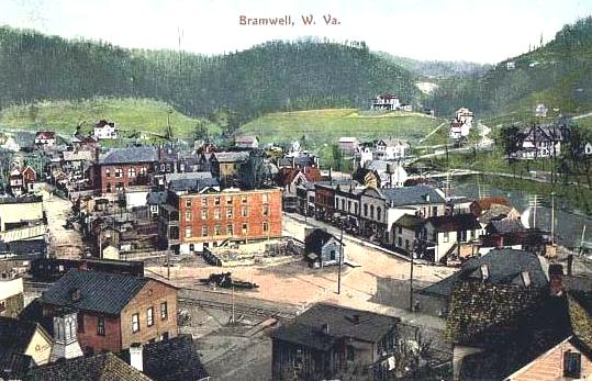 Bramwell in the early 1900s. The Pocahontas coalfields led to the growth of Bramwell as the region's natural resources supported jobs for tens of thousands of miners.