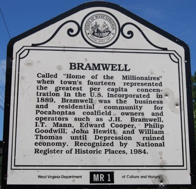 This historical marker is about a mile south of the center of Bramwell at the intersection of Coopers Road and Pocahontas Road.