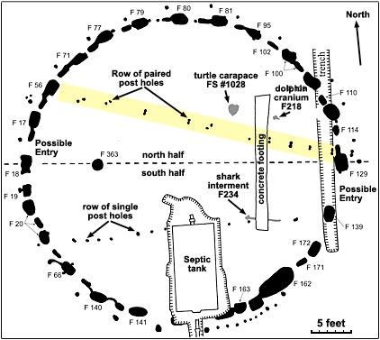 This illustration of Miami Circle shows prehistoric features, such as the postholes, basins, and archaeological findings, as well as modern disturbances to the site, like a nearby apartment's septic tank. Florida Bureau of Archaeological Research.